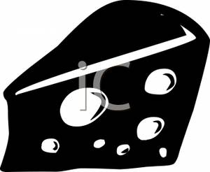 Cheese clipart cheese wedge. Black and white image