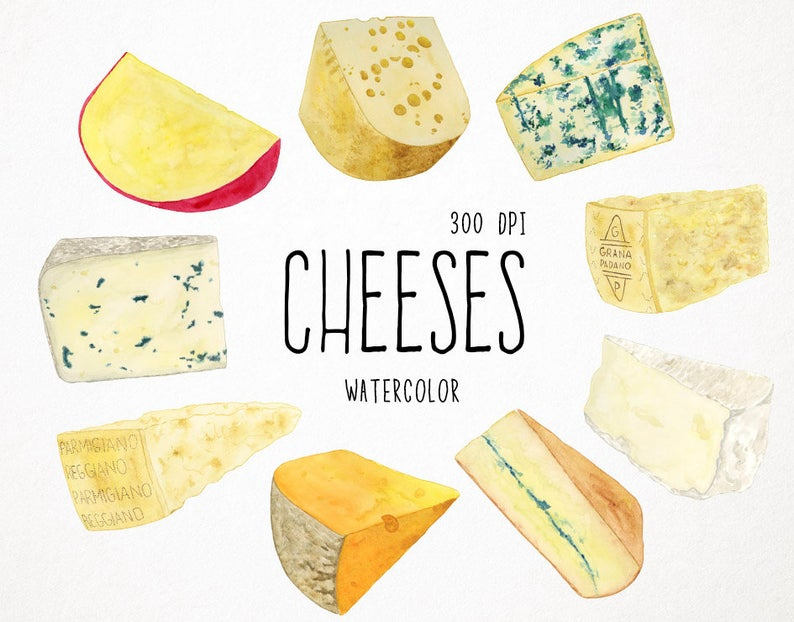 Cheese clipart chesse. Food watercolor clip art