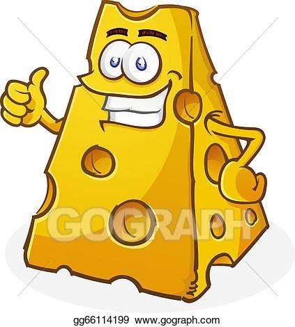 Vector illustration cartoon character. Cheese clipart chunk cheese