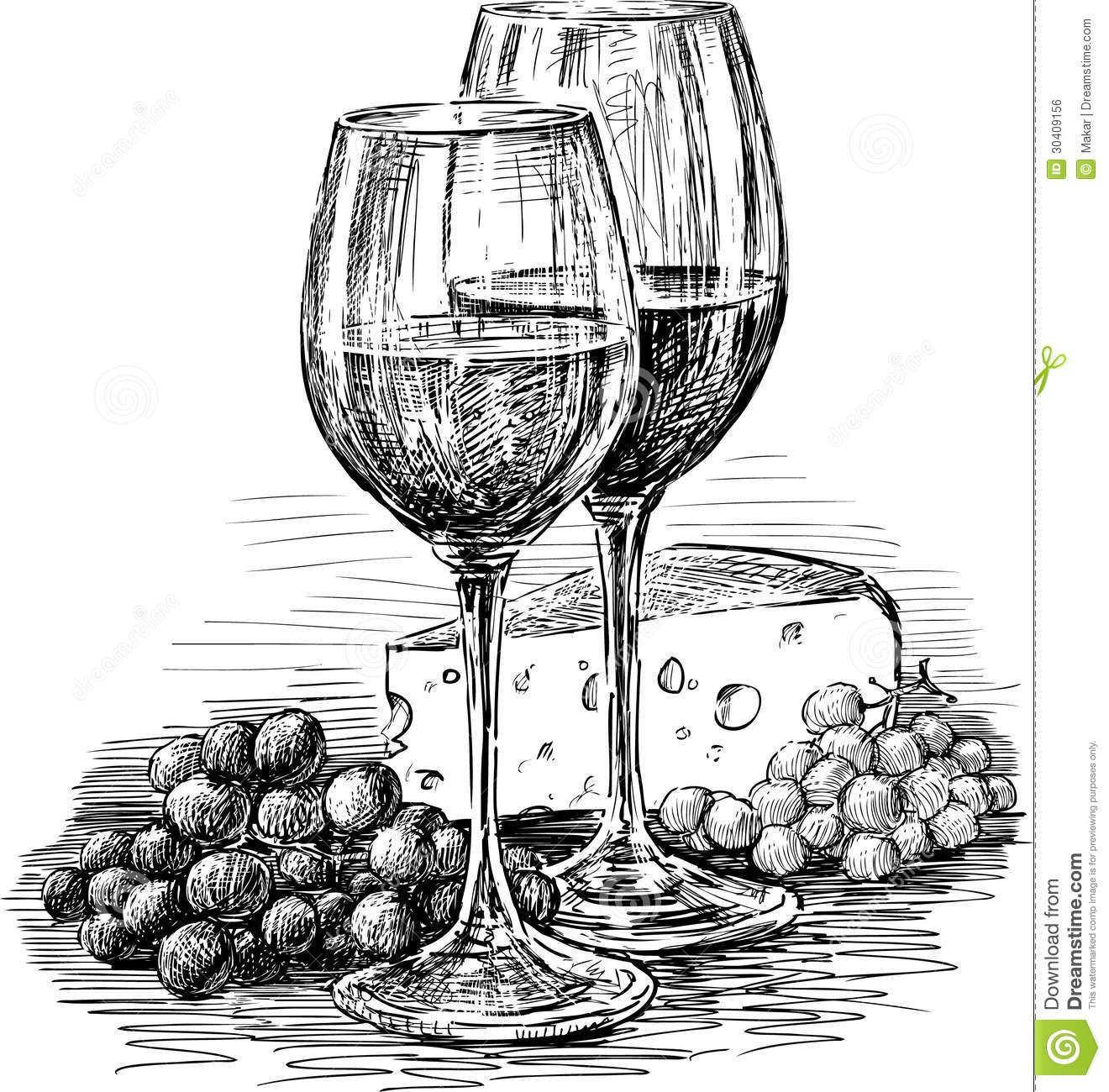 Wine and glasses stock. Cheese clipart drawing