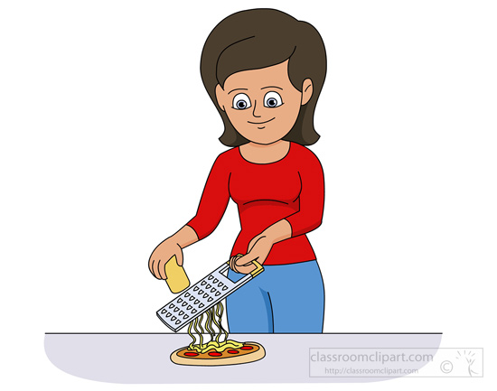 Cheese clipart grated cheese. Kitchen lady grating on