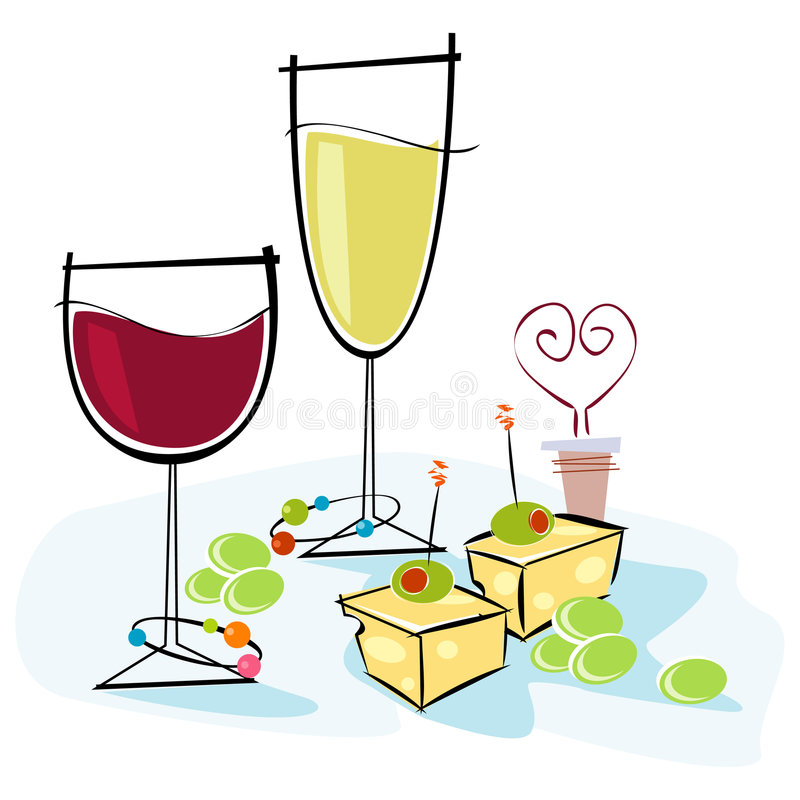 Wine and retrostyle stock. Cheese clipart illustration