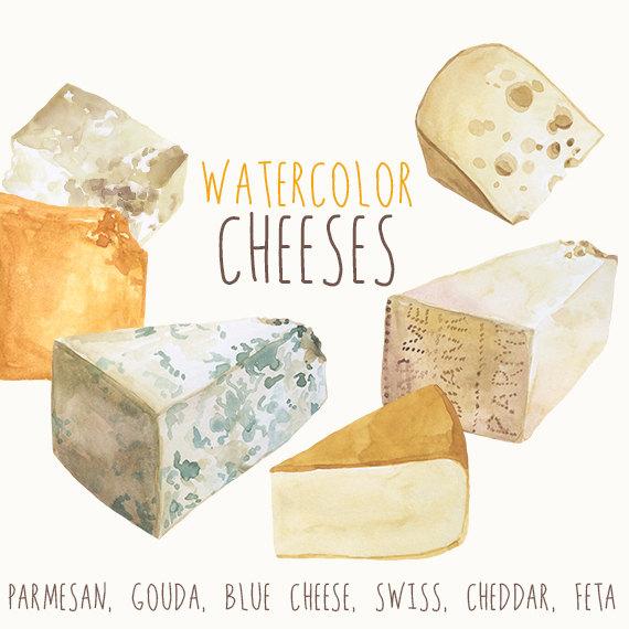 Cheese clipart parmesan. Watercolor culinary clip art