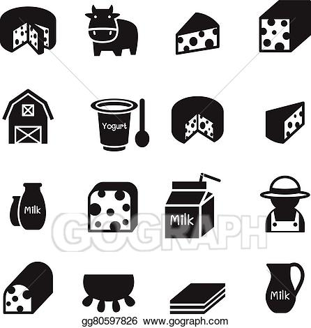 Vector illustration icons set. Cheese clipart silhouette