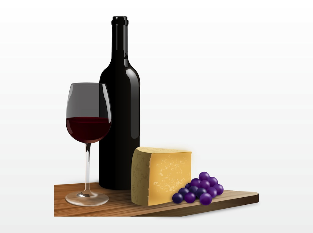 French wine and pencil. Cheese clipart vector