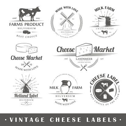 set of labels. Cheese clipart vintage