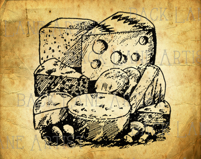 Cheese clipart vintage. Kitchen lineart illustration instant
