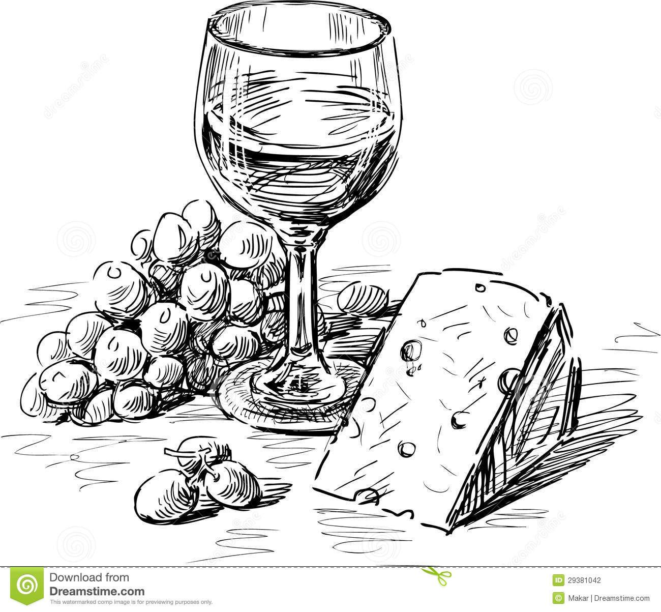 Vector drawing of a. Cheese clipart winery