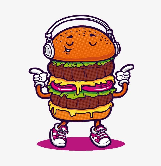 Flat burger material cartoon. Cheeseburger clipart animated