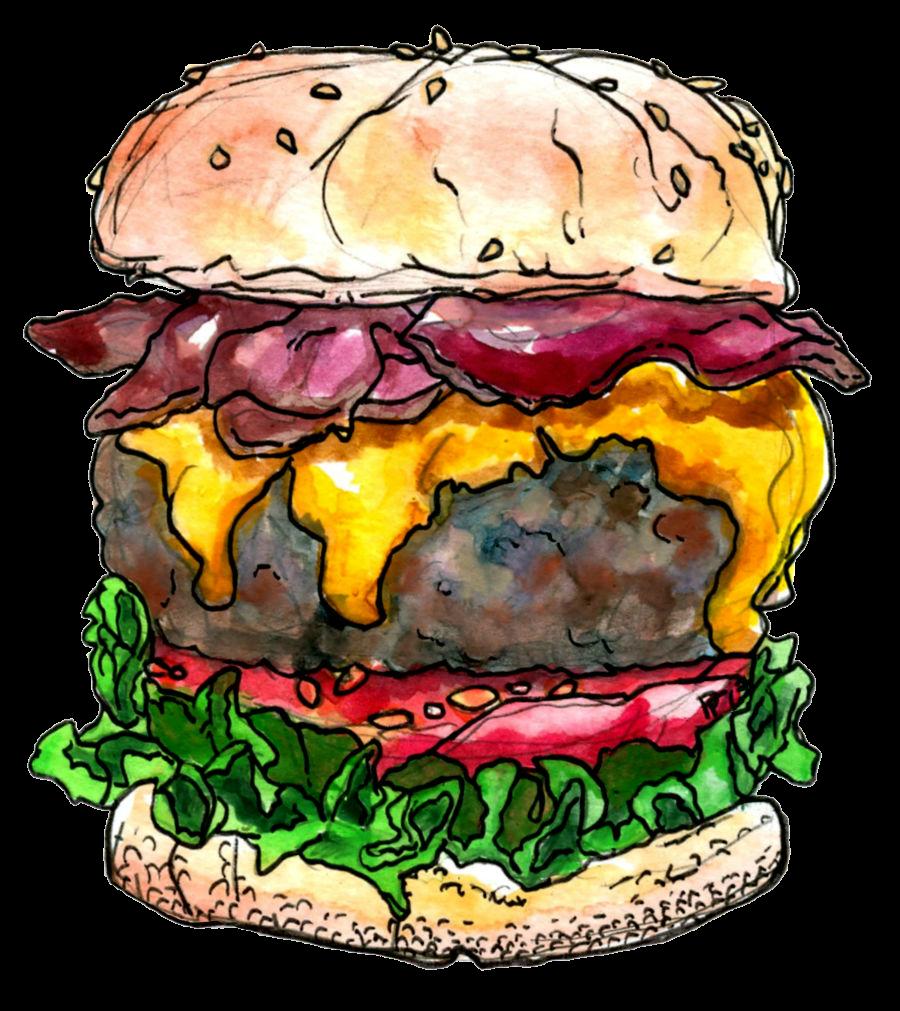 Cheeseburger clipart bacon cheeseburger. Watercolor and pen at