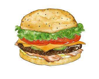 Cheeseburger clipart bbq burger. Watercolor etsy juicy bacon