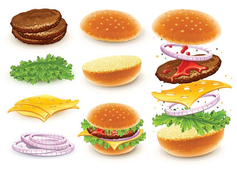 Cheeseburger clipart bbq burger. Hamburger vector of with