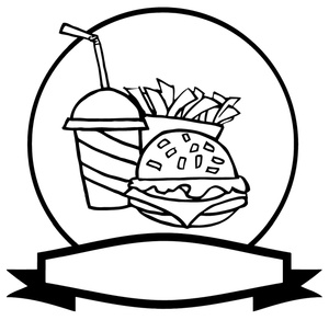 Cheeseburger clipart black and white. Free fast food image