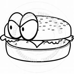 Bun clip art in. Cheeseburger clipart black and white