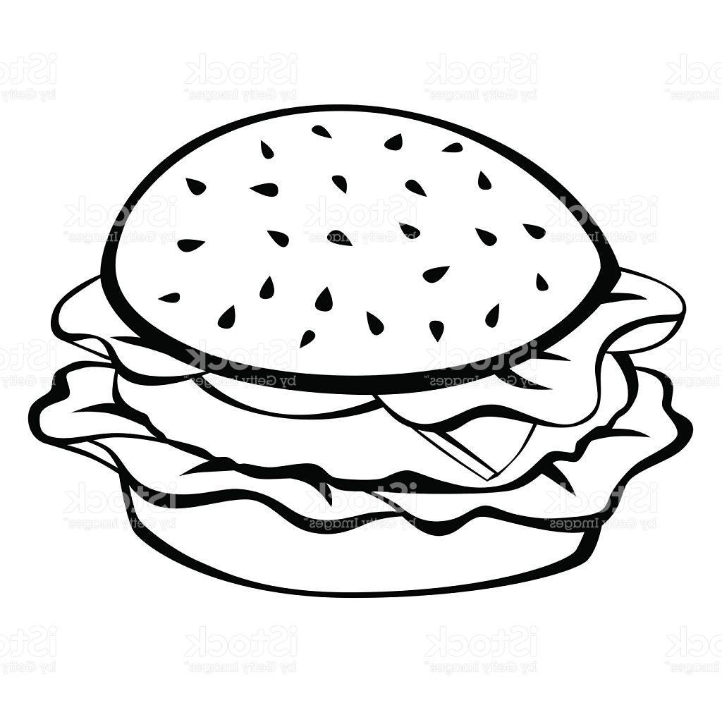 Hamburger drawing at getdrawings. Cheeseburger clipart black and white