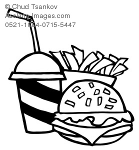 Soft drink with a. Cheeseburger clipart black and white