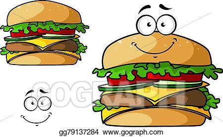 Vector stock isolated fast. Cheeseburger clipart cartoon