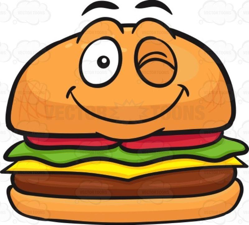 Hamburger with a smiley. Cheeseburger clipart face