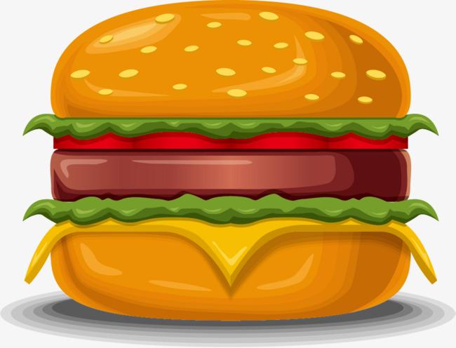Hand painted yellow hamburger. Burger clipart simple
