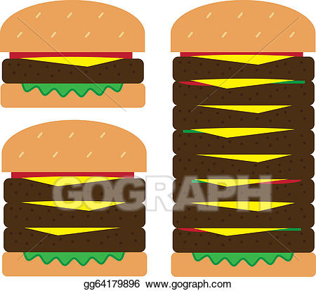 Cheeseburger clipart small hamburger. Eps illustration stacks vector