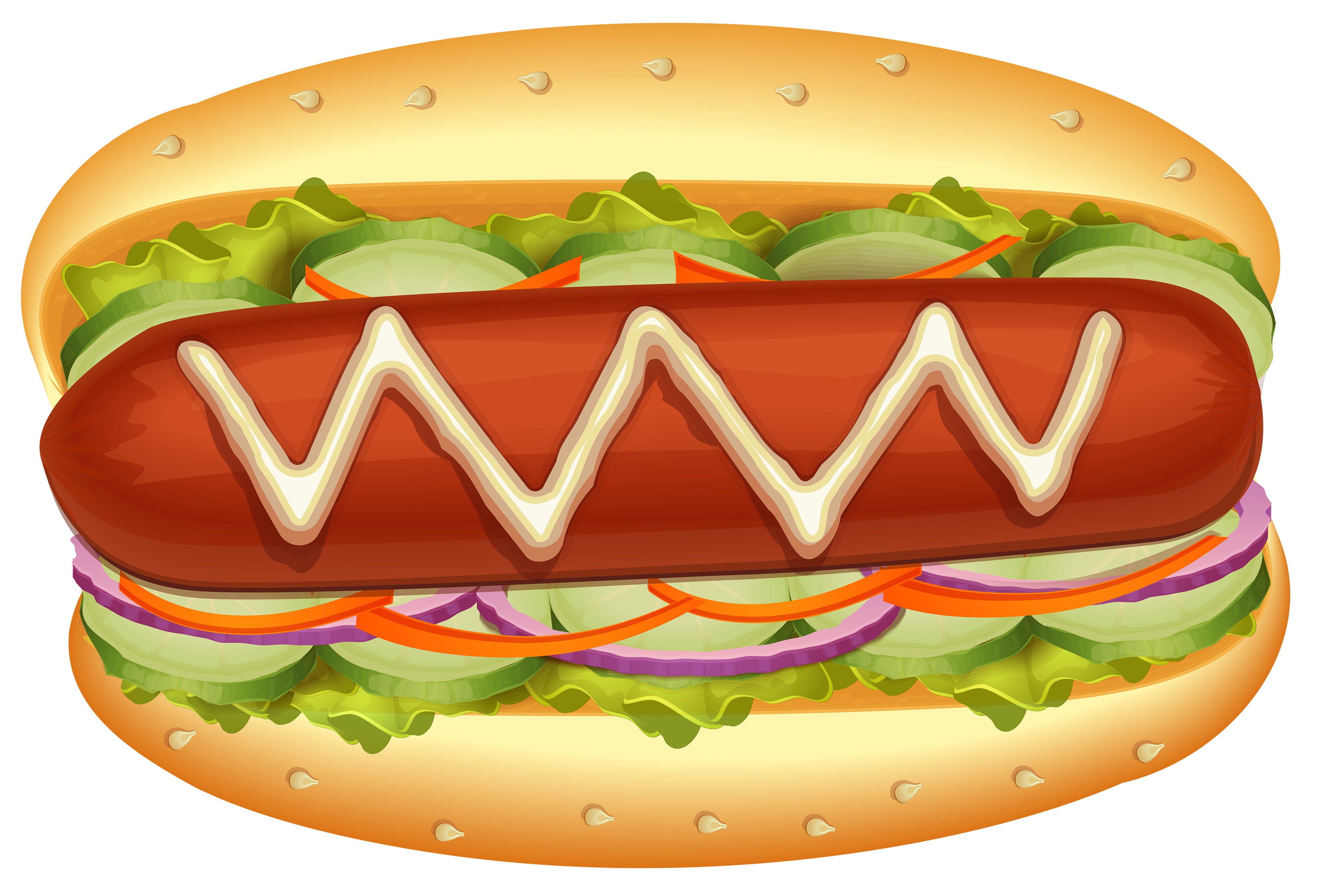 Hot dog with salad. Clipart heart food