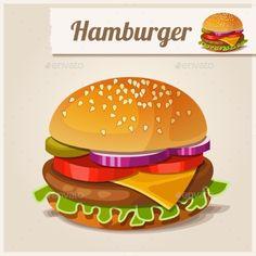 Cheeseburger clipart vector. Hamburger icon royalty free