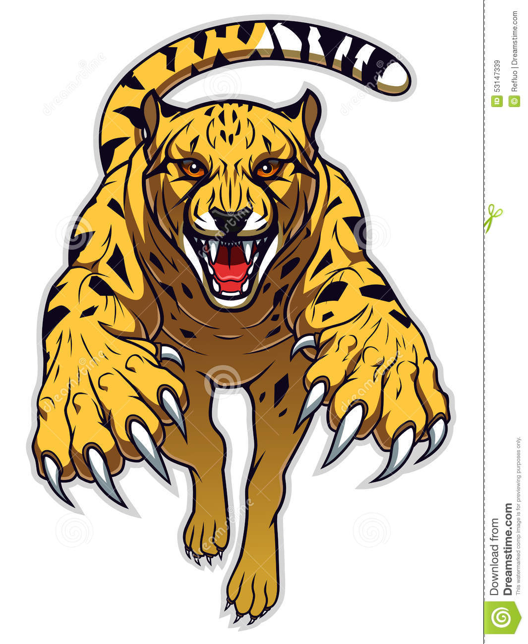 Pencil and in color. Cheetah clipart angry