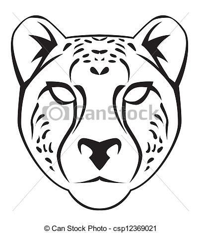 Vector illustration of face. Cheetah clipart body