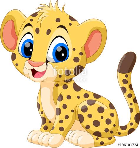 Cheetah clipart tail. Cute baby cartoon stock