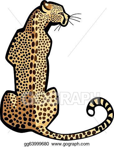 Vector art sitting eps. Cheetah clipart tail