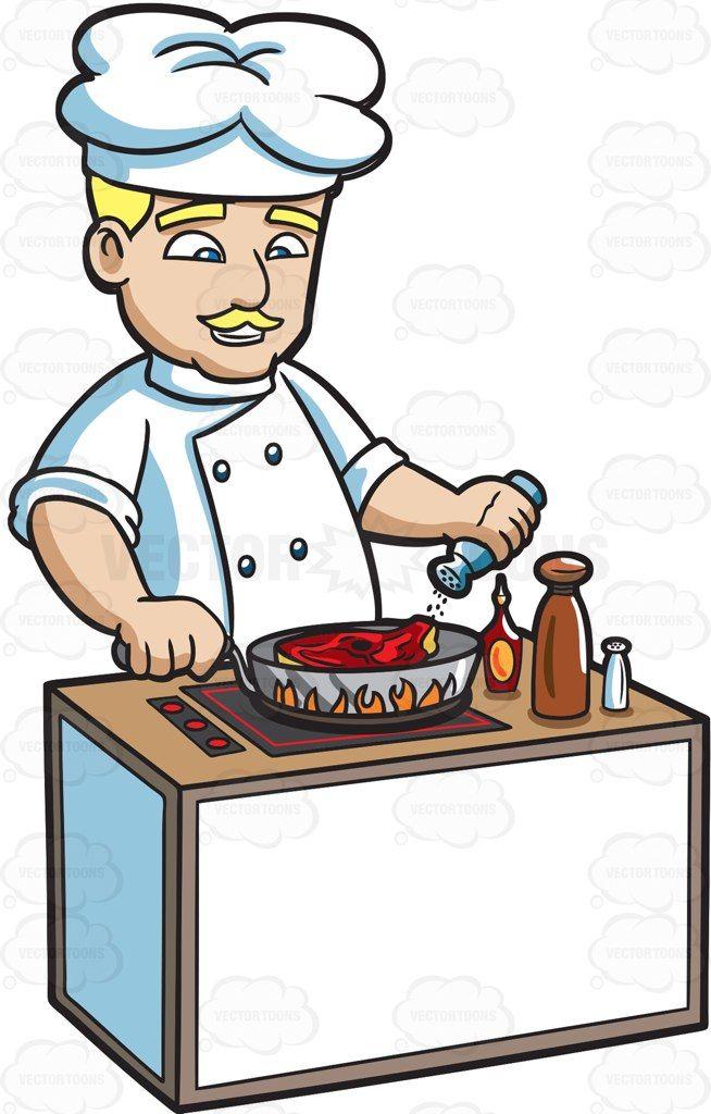 A cooking steak cartoon. Chef clipart baking