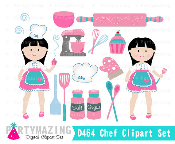 Chef clipart baking. Girl clip art set