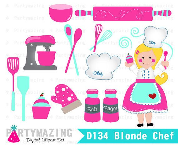 Chef clipart baking. Blonde set cupcake by