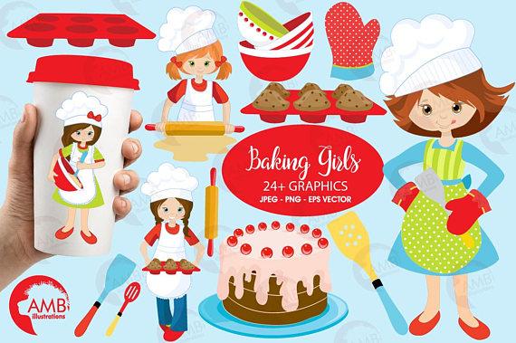 Chefs girl bake sale. Chef clipart baking