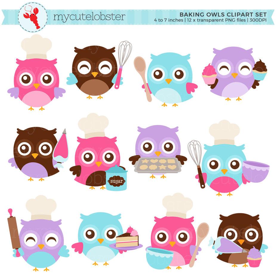 Owls set clip art. Baking clipart cute