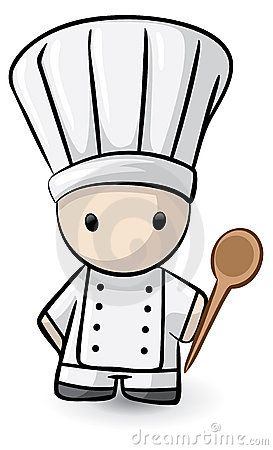 Cartoon chef with spoon. Cooking clipart culinary