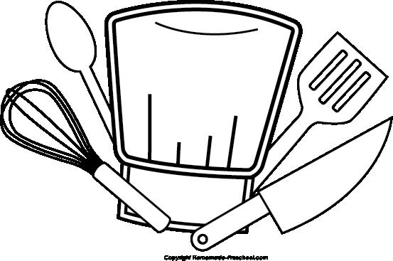 Chef black and white. Hat clipart kitchen