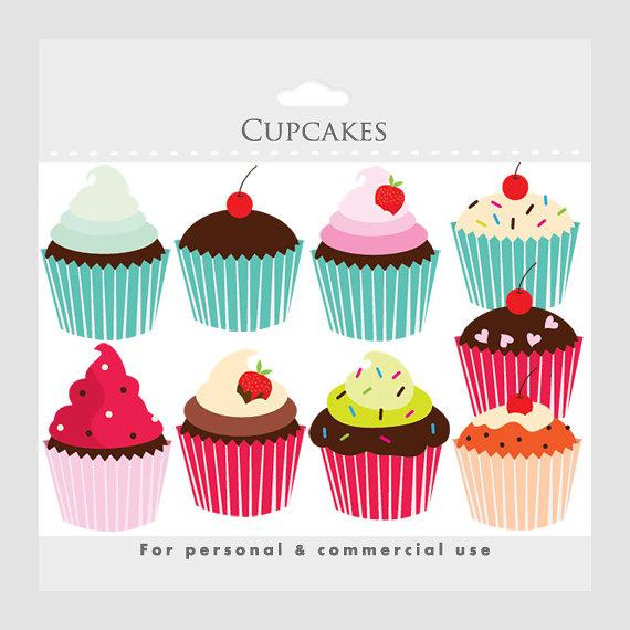 Clipart cupcake collage. Cupcakes clip art digital