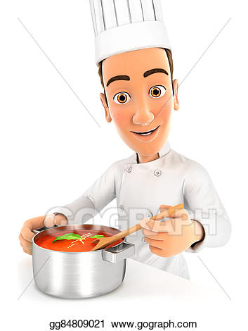 Stock illustration d cooking. Chef clipart head chef