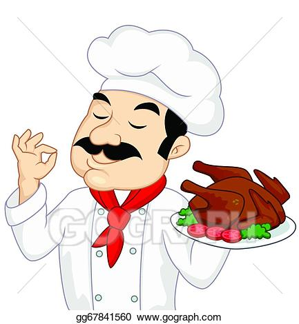 Chef clipart illustration. Vector stock with chicken