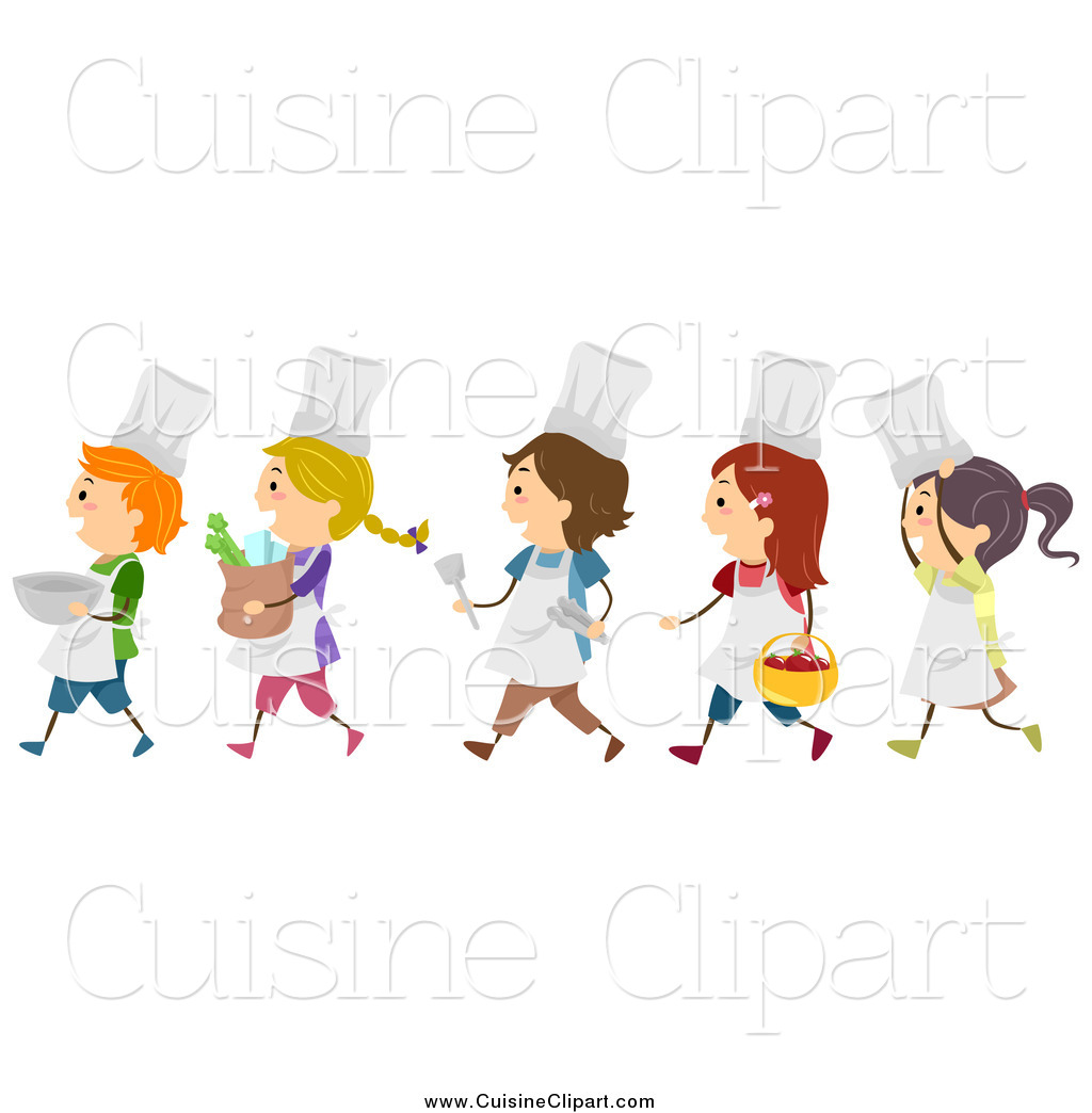 Cuisine of a diverse. Clipart walking class line