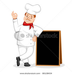Chef clipart menu. A standing with black