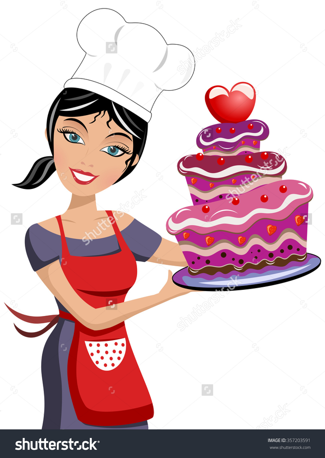 Baking clipart pastry. Female chef station