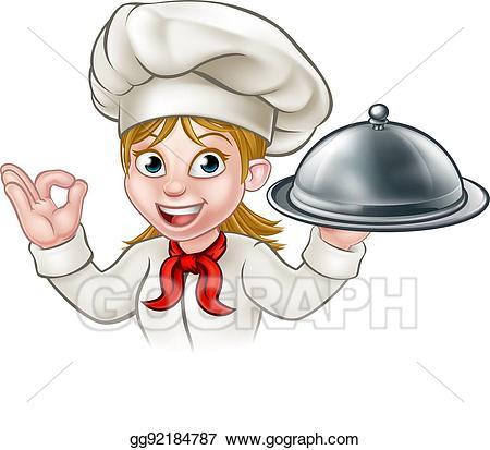 Vector art cartoon woman. Lady clipart chef