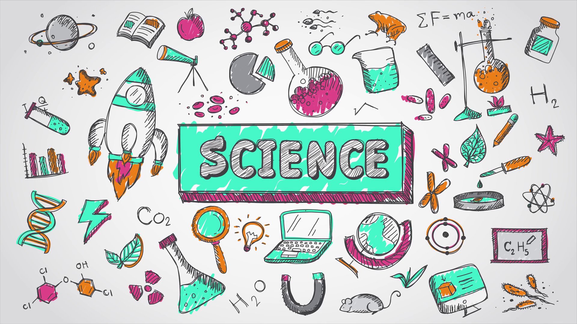 Videoblocks doodle cartoon animation. Chemical clipart biology