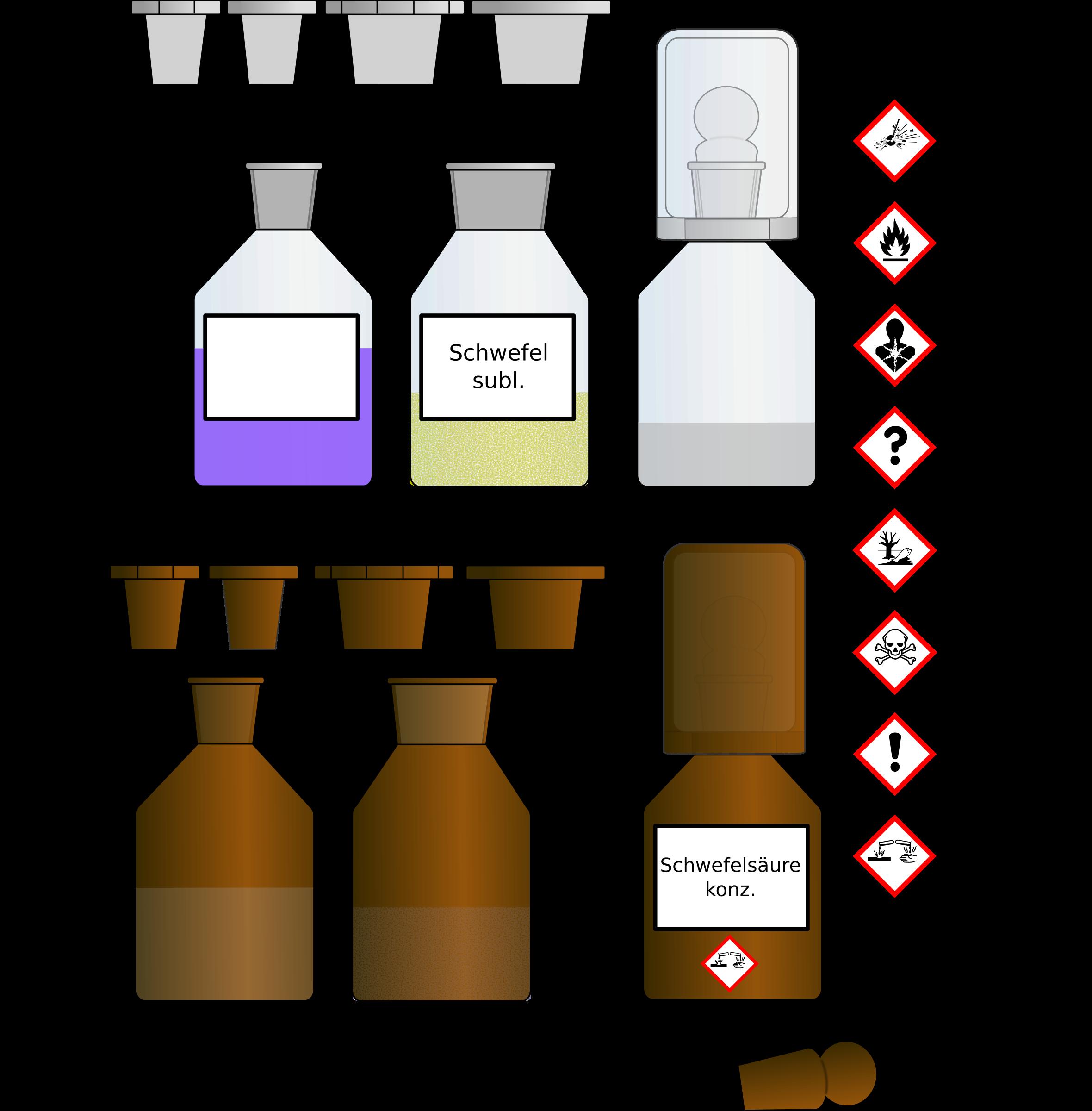 Chemical clipart bottle. Chemikalien flaschen bottles big