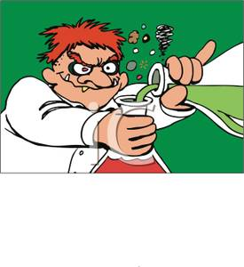 Chemical clipart cartoon. A mad scientist mixing