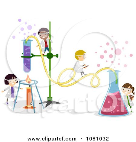 Tiny stick kids working. Chemical clipart cute