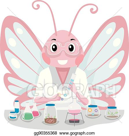 Experiment clipart pink. Vector illustration butterfly scientist