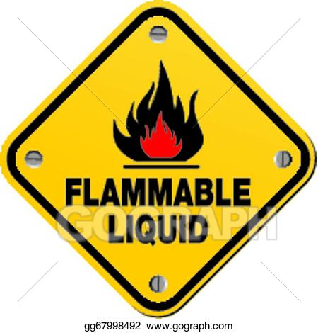 Vector art yellow sign. Chemical clipart flammable